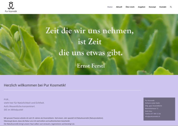 Referenzbild Website PurKosmetik