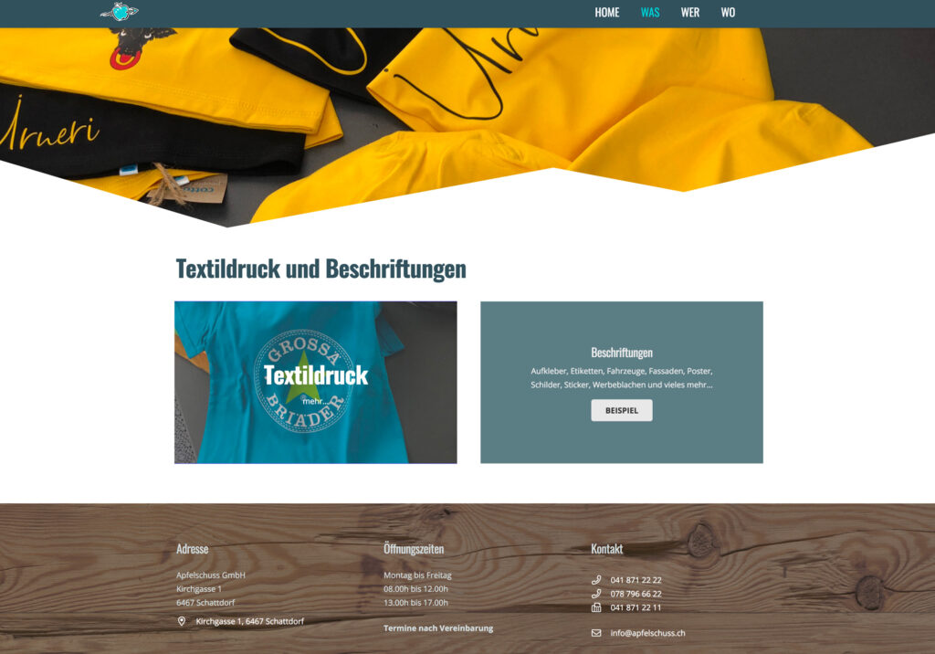 Referenzbild Website Apfelschuss