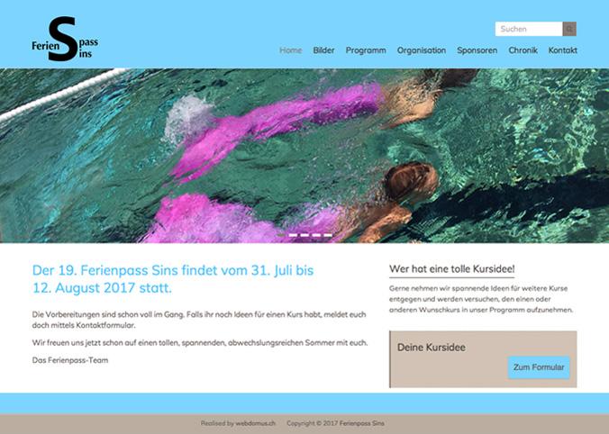 Referenzbild Website Ferienpass Sins